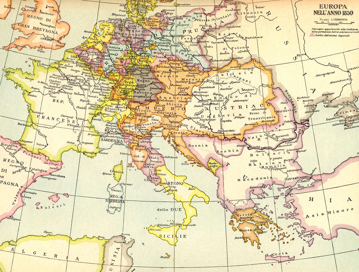 Cartina Geografica Europa Budapest.Europa Nell Anno 1850 Cartina