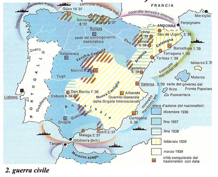 Cartina Muta Della Spagna Da Completare.Guerra Di Spagna 1936 1939