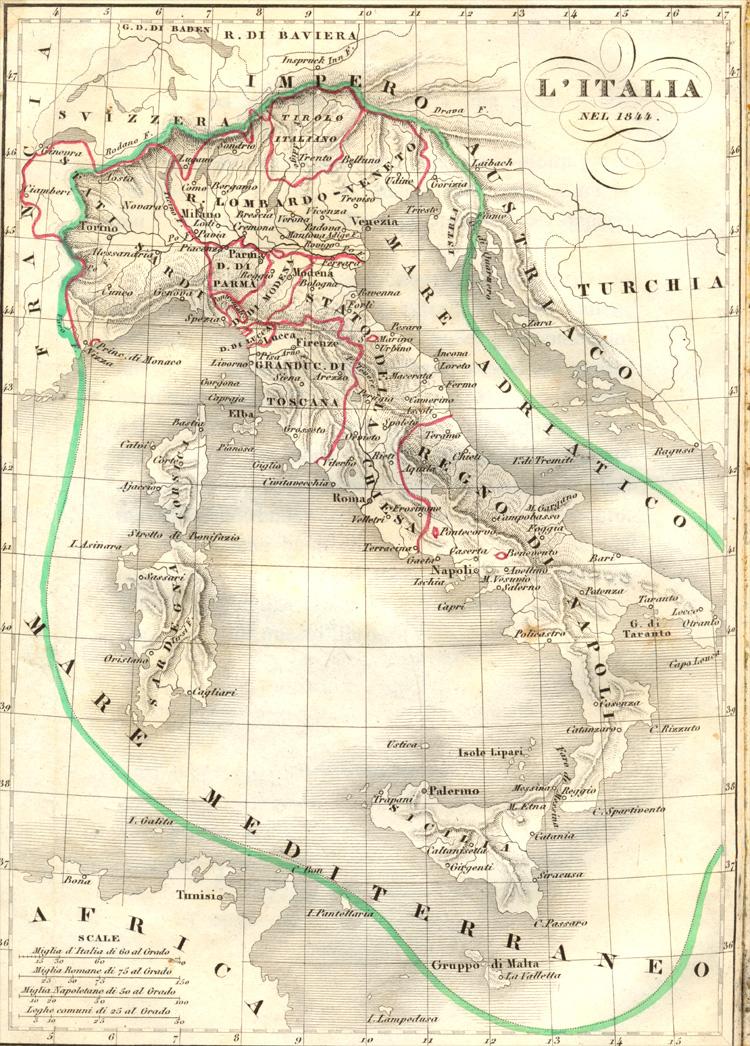 Cartina Del Regno Di Sardegna.Italia Nel 1843 Cartina