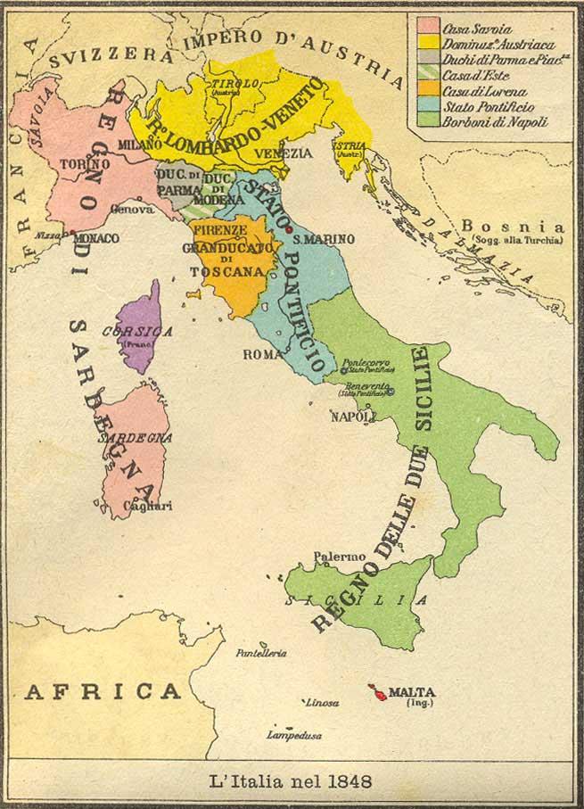 Italia nel 1843 cartina for Struttura politica italiana