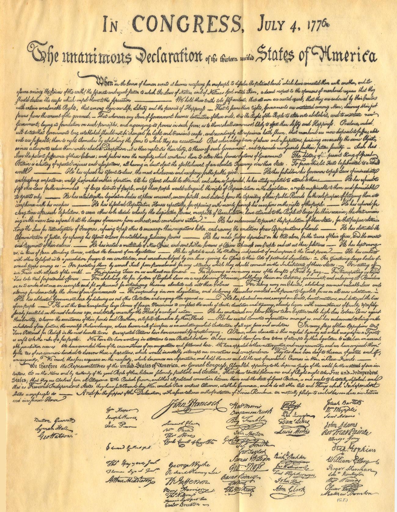 Indipendenza degli stati uniti d'america, filadelfia 4 luglio 1776