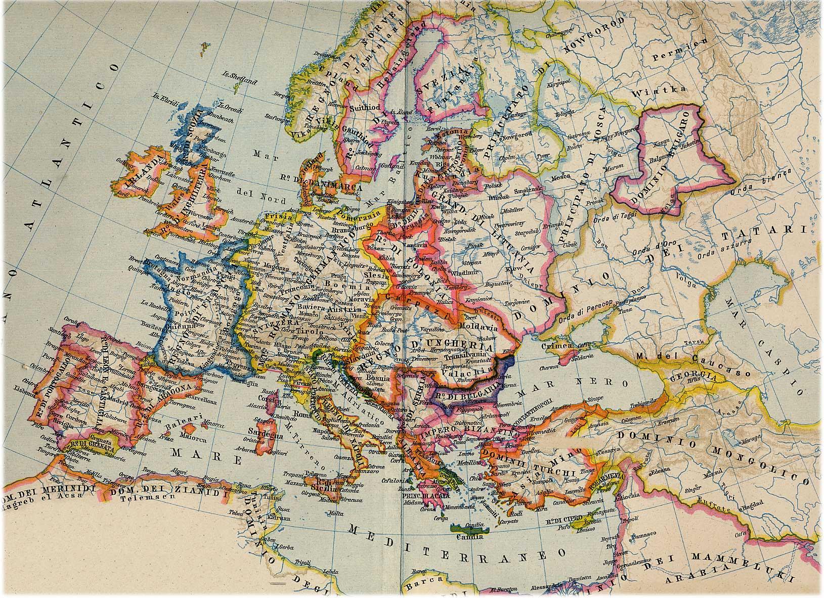 Cartina Europa.Europa Gli Stati Alla Fine Del Medioevo